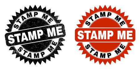 Black rosette STAMP ME seal stamp. Flat vector distress seal stamp with STAMP ME text inside sharp rosette, and original clean source. Imprint with unclean style. Ilustrace