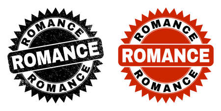 Black rosette ROMANCE seal stamp. Flat vector scratched seal stamp with ROMANCE title inside sharp star shape, and original clean version. Watermark with corroded style.