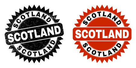 Black rosette SCOTLAND seal. Flat vector grunge seal with SCOTLAND phrase inside sharp star shape, and original clean source. Rubber imitation with grunge surface.