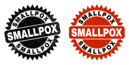 Black rosette SMALLPOX seal. Flat vector grunge seal stamp with SMALLPOX phrase inside sharp rosette, and original clean version. Watermark with grunge style. Ilustrace