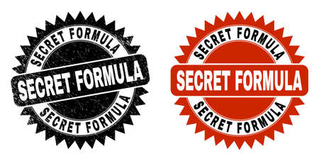 Black rosette SECRET FORMULA watermark. Flat vector textured stamp with SECRET FORMULA text inside sharp rosette, and original clean template. Watermark with unclean surface. Ilustrace