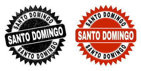 Black rosette SANTO DOMINGO seal stamp. Flat vector scratched stamp with SANTO DOMINGO message inside sharp rosette, and original clean source. Imprint with scratched surface.