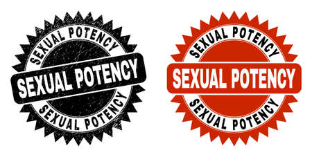 Black rosette SEXUAL POTENCY seal. Flat vector scratched seal stamp with SEXUAL POTENCY phrase inside sharp rosette, and original clean version. Watermark with scratched surface. Ilustrace