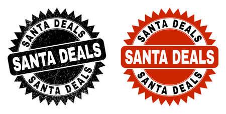 Black rosette SANTA DEALS seal stamp. Flat vector scratched seal stamp with SANTA DEALS text inside sharp rosette, and original clean version. Watermark with unclean style.