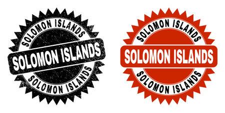 Black rosette SOLOMON ISLANDS watermark. Flat vector distress watermark with SOLOMON ISLANDS message inside sharp rosette, and original clean source. Watermark with distress surface.