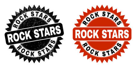 Black rosette ROCK STARS stamp. Flat vector distress stamp with ROCK STARS message inside sharp rosette, and original clean version. Rubber imitation with distress surface.