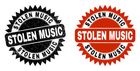 Black rosette STOLEN MUSIC seal stamp. Flat vector scratched seal stamp with STOLEN MUSIC caption inside sharp star shape, and original clean template. Imprint with grunge texture. Ilustrace