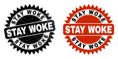 Black rosette STAY WOKE seal stamp. Flat vector scratched seal stamp with STAY WOKE message inside sharp rosette, and original clean template. Rubber imitation with distress surface.