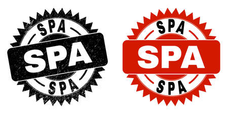 Black rosette SPA seal stamp. Flat vector scratched seal stamp with SPA title inside sharp rosette, and original clean version. Watermark with unclean texture. Ilustrace