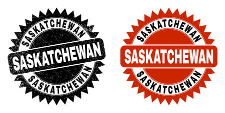 Black rosette SASKATCHEWAN seal stamp. Flat vector distress seal stamp with SASKATCHEWAN message inside sharp rosette, and original clean source. Rubber imitation with unclean texture.