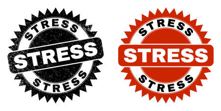Black rosette STRESS seal. Flat vector distress seal stamp with STRESS caption inside sharp rosette, and original clean version. Rubber imitation with distress texture.