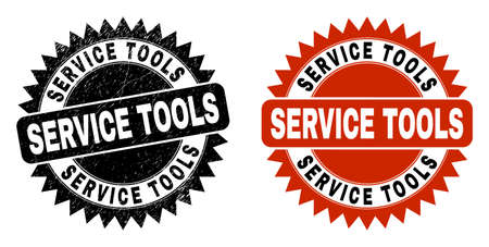 Black rosette SERVICE TOOLS watermark. Flat vector textured watermark with SERVICE TOOLS title inside sharp rosette, and original clean source. Imprint with corroded texture.