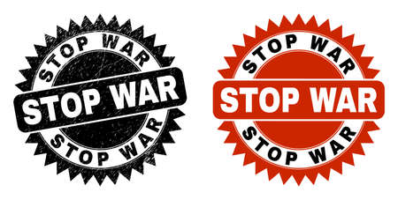 Black rosette STOP WAR watermark. Flat vector textured watermark with STOP WAR title inside sharp rosette, and original clean template. Watermark with unclean style. Ilustrace