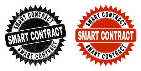 Black rosette SMART CONTRACT seal stamp. Flat vector distress watermark with SMART CONTRACT message inside sharp rosette, and original clean version. Watermark with distress texture.