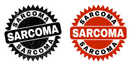 Black rosette SARCOMA watermark. Flat vector scratched watermark with SARCOMA text inside sharp rosette, and original clean source. Rubber imitation with unclean texture.