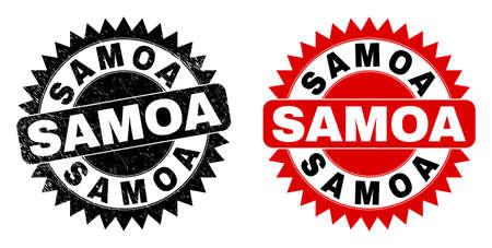 Black rosette SAMOA seal stamp. Flat vector scratched seal with SAMOA title inside sharp rosette, and original clean source. Rubber imitation with scratched style. Ilustrace