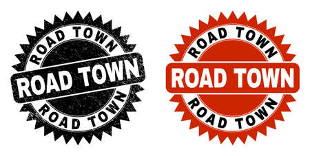 Black rosette ROAD TOWN stamp. Flat vector distress watermark with ROAD TOWN text inside sharp rosette, and original clean template. Watermark with scratched style. Ilustrace