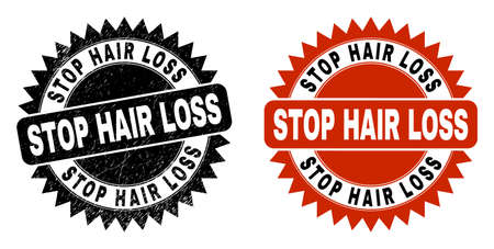 Black rosette STOP HAIR LOSS seal. Flat vector grunge watermark with STOP HAIR LOSS caption inside sharp rosette, and original clean version. Watermark with grunge texture. Ilustrace