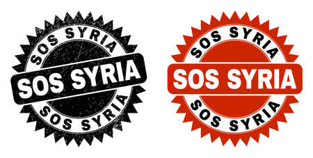 Black rosette SOS SYRIA watermark. Flat vector distress watermark with SOS SYRIA message inside sharp rosette, and original clean template. Watermark with distress style.