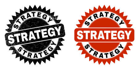 Black rosette STRATEGY seal stamp. Flat vector distress seal stamp with STRATEGY phrase inside sharp star shape, and original clean source. Watermark with distress texture.