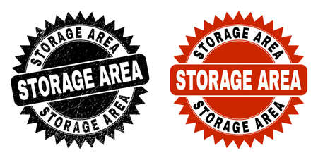 Black rosette STORAGE AREA stamp. Flat vector grunge seal stamp with STORAGE AREA phrase inside sharp rosette, and original clean source. Watermark with distress style.