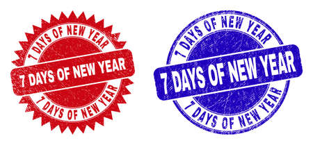 Round and rosette 7 DAYS OF NEW YEAR seal stamps. Flat vector scratched stamps with 7 DAYS OF NEW YEAR message inside round and sharp rosette form, in red and blue colors. Ilustrace