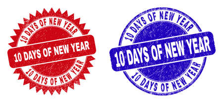 Round and rosette 10 DAYS OF NEW YEAR watermarks. Flat vector scratched watermarks with 10 DAYS OF NEW YEAR caption inside round and sharp rosette shape, in red and blue colors.
