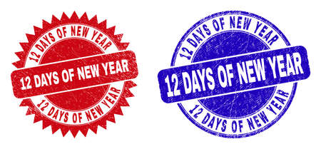 Round and rosette 12 DAYS OF NEW YEAR seal stamps. Flat vector scratched seal stamps with 12 DAYS OF NEW YEAR text inside round and sharp rosette shape, in red and blue colors. Ilustrace