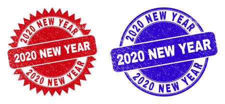 Round and rosette 2020 NEW YEAR seal stamps. Flat vector textured seal stamps with 2020 NEW YEAR slogan inside round and sharp rosette form, in red and blue colors. Ilustrace
