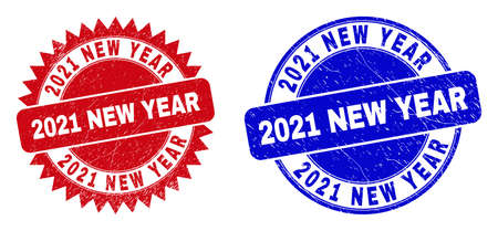 Round and rosette 2021 NEW YEAR seals. Flat vector distress stamps with 2021 NEW YEAR text inside round and sharp rosette shape, in red and blue colors. Imprints with distress surface,