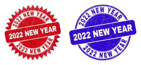 Round and rosette 2022 NEW YEAR seal stamps. Flat vector distress seal stamps with 2022 NEW YEAR tag inside round and sharp rosette shape, in red and blue colors. Watermarks with corroded surface, Ilustrace