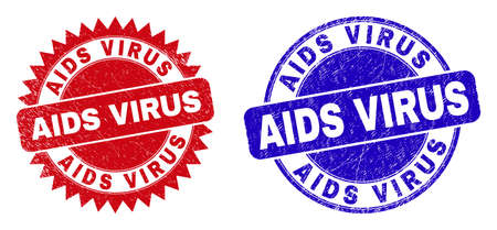 Round and rosette AIDS VIRUS seals. Flat vector grunge seals with AIDS VIRUS phrase inside round and sharp rosette shape, in red and blue colors. Watermarks with distress style, on a white background.