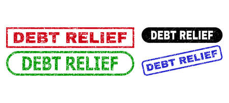 DEBT RELIEF grunge watermarks. Flat vector grunge watermarks with DEBT RELIEF slogan inside different rectangle and rounded frames, in blue, red, green, black color variants.