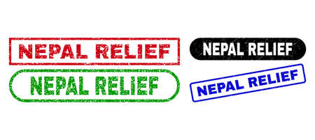 NEPAL RELIEF grunge seal stamps. Flat vector grunge seal stamps with NEPAL RELIEF message inside different rectangle and rounded forms, in blue, red, green, black color variants.