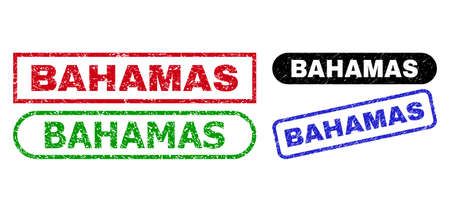 BAHAMAS grunge seal stamps. Flat vector scratched seal stamps with BAHAMAS tag inside different rectangle and rounded forms, in blue, red, green, black color versions. Imprints with unclean style.