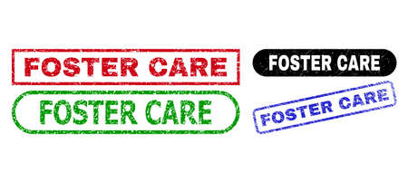 FOSTER CARE grunge seal stamps. Flat vector grunge seal stamps with FOSTER CARE phrase inside different rectangle and rounded forms, in blue, red, green, black color versions.