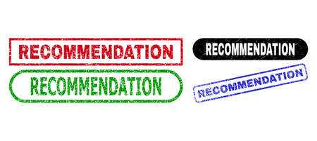 RECOMMENDATION grunge watermarks. Flat vector grunge watermarks with RECOMMENDATION message inside different rectangle and rounded forms, in blue, red, green, black color versions.