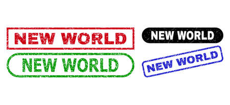 NEW WORLD grunge stamps. Flat vector scratched watermarks with NEW WORLD tag inside different rectangle and rounded frames, in blue, red, green, black color versions. Watermarks with grunge surface.