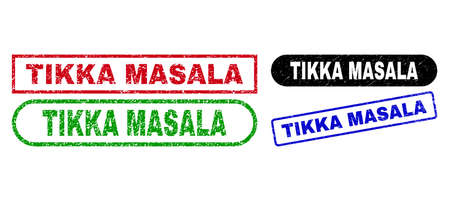 TIKKA MASALA grunge stamps. Flat vector scratched seal stamps with TIKKA MASALA text inside different rectangle and rounded frames, in blue, red, green, black color versions.