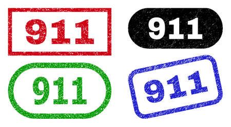 911 grunge watermarks. Flat vector grunge watermarks with 911 phrase inside different rectangle and rounded forms, in blue, red, green, black color variants. Imprints with grunge surface.