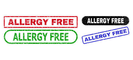 ALLERGY FREE grunge seal stamps. Flat vector grunge seal stamps with ALLERGY FREE phrase inside different rectangle and rounded forms, in blue, red, green, black color versions.
