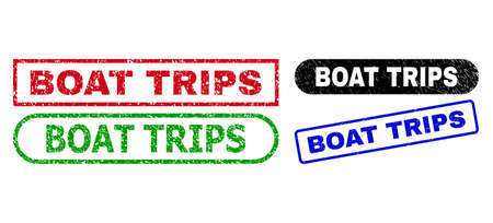 BOAT TRIPS grunge stamps. Flat vector grunge stamps with BOAT TRIPS text inside different rectangle and rounded shapes, in blue, red, green, black color versions. Imprints with unclean texture.