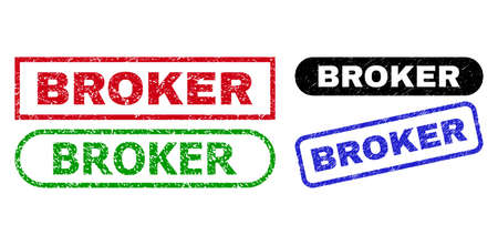 BROKER grunge seal stamps. Flat vector grunge stamps with BROKER slogan inside different rectangle and rounded frames, in blue, red, green, black color versions. Imprints with grunge texture.