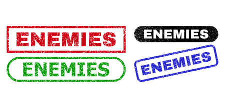 ENEMIES grunge seal stamps. Flat vector textured seal stamps with ENEMIES message inside different rectangle and rounded shapes, in blue, red, green, black color variants.