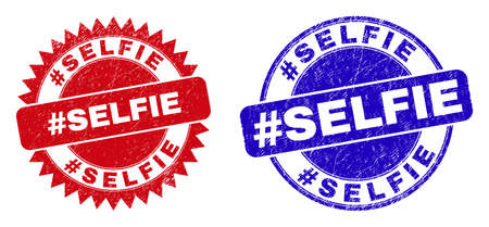 Rounded and rosette #SELFIE seal stamps. Flat vector textured seal stamps with #SELFIE phrase inside round and sharp rosette shape, in red and blue colors.