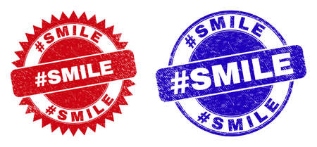 Rounded and rosette #SMILE seal stamps. Flat vector distress seal stamps with #SMILE text inside round and sharp rosette form, in red and blue colors.