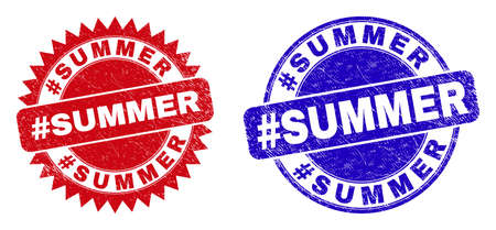 Round and rosette #SUMMER seal stamps. Flat vector scratched seal stamps with #SUMMER phrase inside round and sharp rosette form, in red and blue colors. 일러스트