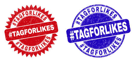 Round and rosette #TAGFORLIKES seal stamps. Flat vector distress stamps with #TAGFORLIKES slogan inside round and sharp rosette form, in red and blue colors.