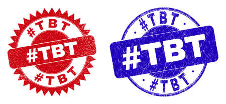 Round and rosette #TBT stamps. Flat vector textured watermarks with #TBT message inside round and sharp rosette shape, in red and blue colors. Watermarks with scratched style, on a white background.