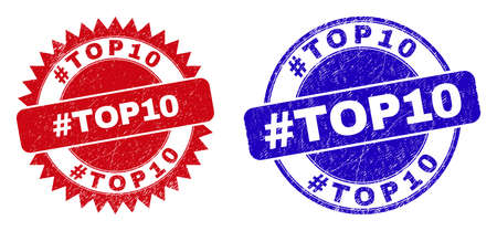Round and rosette #TOP10 stamps. Flat vector scratched watermarks with #TOP10 phrase inside round and sharp rosette form, in red and blue colors.